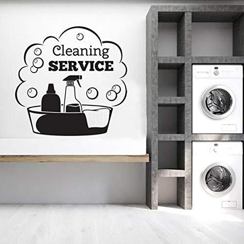 Servicio de limpieza etiqueta de la pared signo de la puerta tienda frase casa etiqueta de la pared vinilo etiqueta de la pared mural
