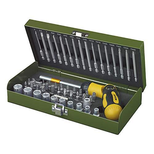 Proxxon 23104 23 104 Ratsche/Bits Set mit Schraubendreher, Steckschlüsseleinsätze, Magnethalter, Spezialeinsatz zum Arbeiten mit Elektroschrauber oder Bohrmaschine, 54-teilig, Grau