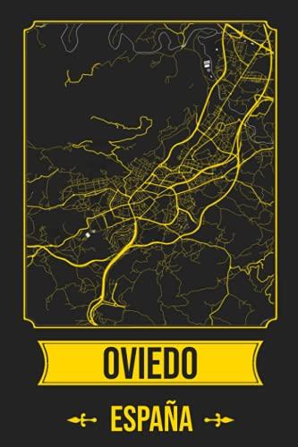 OVIEDO España Cuaderno: Squareious de la Ciudad de OVIEDO, Hoja Forrada, Diario 200 PÁGINAS, 6x9
