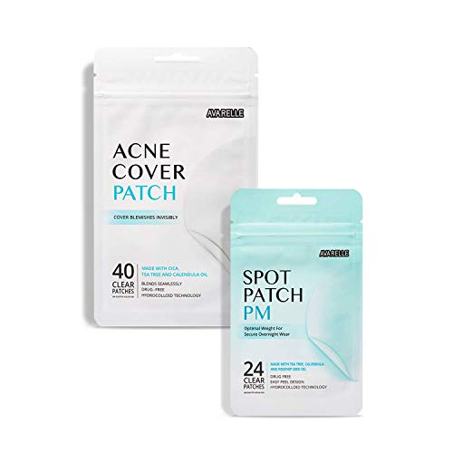 Avarelle Acne Absorbing Cover Patch Hydrocolloid, Tea Tree, Calendula Oil, CICA ( Original + PM Overnight Bundle)