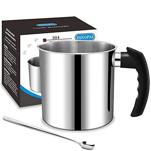 Candle Making Pouring Pot, DINGPAI 44oz Double Boiler Wax Melting Pot, 1pc Spoon, 304 Stainless Steel Candle Making Pitcher, Silver Color with Heat-Resistant Handle and Dripless Pouring Spout Design