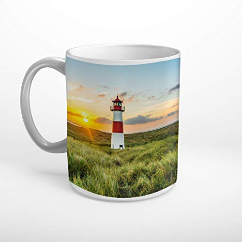 Stufffactory Sylt Strand Meer Leuchtturm Tasse Spruch Motiv Fototasse Kaffeebecher T1365