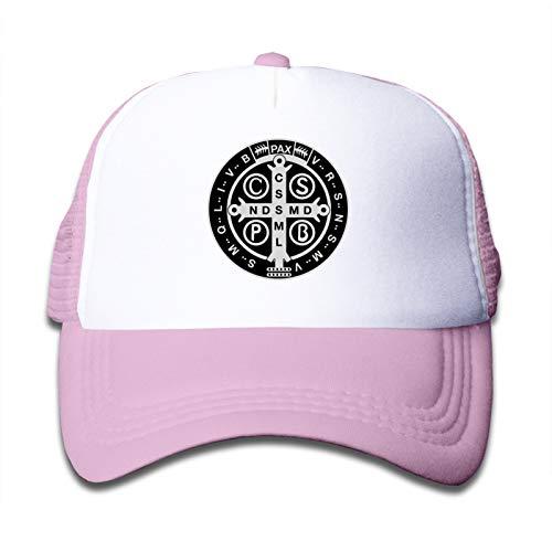 Whhfashion Gorra ligera y duradera con medalla de Saint Benedict para niños y niñas, color rosa