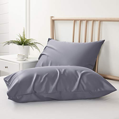 BEDELITE Bamboo Cooling Pillowcases Set of 2, Grey Pillow Cases King Size Breathable and Ultra Soft from 100% Natural Bamboo Viscose, Cool Pillow Cases for Hot Sleepers, Night Sweats (20x40 Inches)