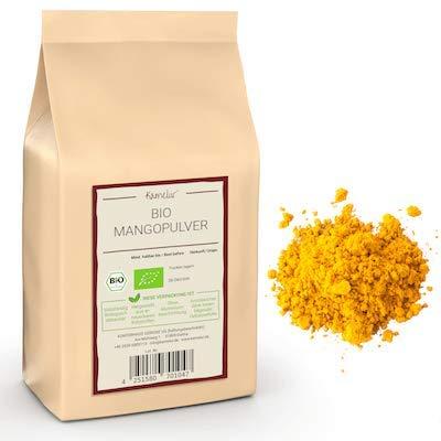 250g de mangue BIO en poudre, de fruits BIO en poudre lyophilisés et sans additifs, de mangue en poudre comme friandise exotique dans un smoothie ou un porridge