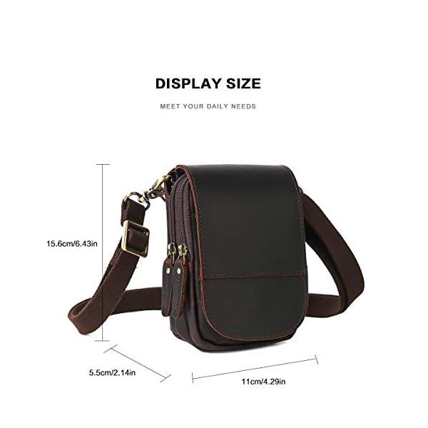 41srSafYi5L. SS600  - Leathario Bolso Cinturón de Cuero de bandorela para Hombre-Riñonera Piel para Teléfono de 4~6 Pulgada Negro01