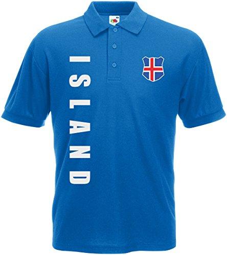 AkyTEX Island EM-2020 Polo-Shirt Wunschname Wunschnummer Royalblau S