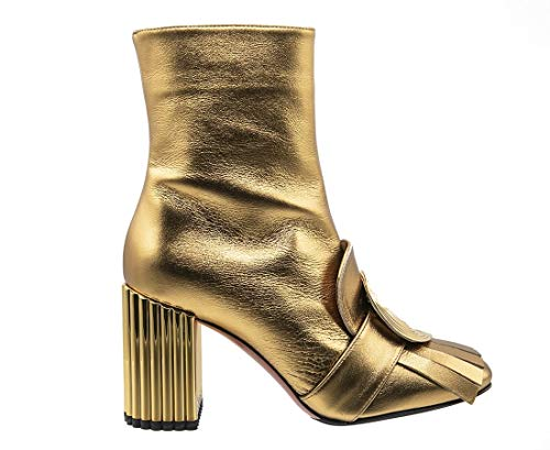 """Baldinini 6628 Gold Calfskin Italian Designer Ankle Boots 3"""" High Heel Fashion Boots"""