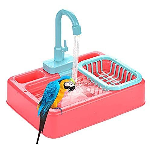 Dongbin Vogelfutter Vogelhäuschen Haustier Papagei Brunnen Spa Pool mit Wasserhahn automatische Badewanne mit Futtertank, der Vögel Zubehör Kinderspielzeug anzieht,Rosa
