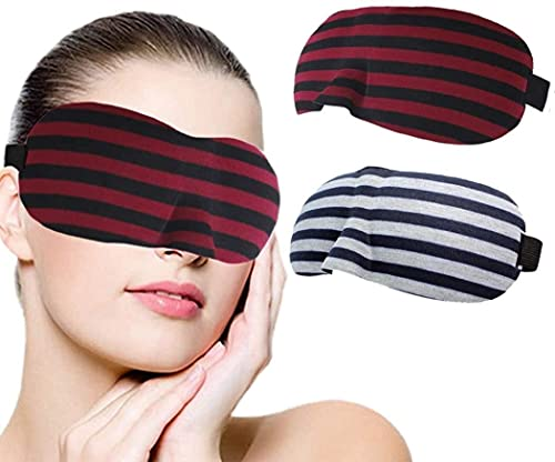 3D konturierte Augenmaske roter Streifen Konturierte Schlafmasken Nacht schlafende Augenbezug Komfort blockieren leichte Auge Abdeckung für Frauen und männer schlafen Reisen nap