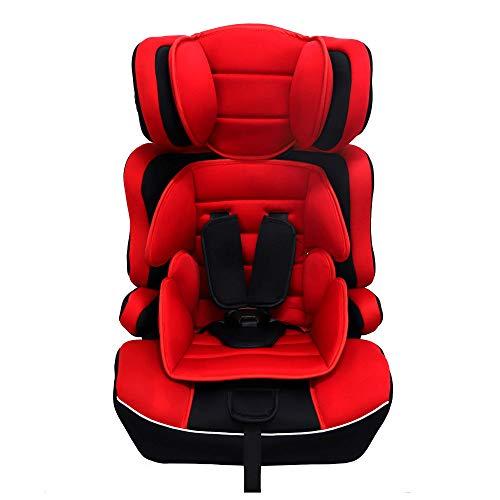 Arebos Silla de auto para niños   Arnés de seguridad de 5 puntos   Grupo 1+2+3 para 9-36kg   Reposacabezas ajustable   ECE R44/04   Respaldo desmontable   Ajustable (44 x 44 x 66-78 cm) (Rojo)