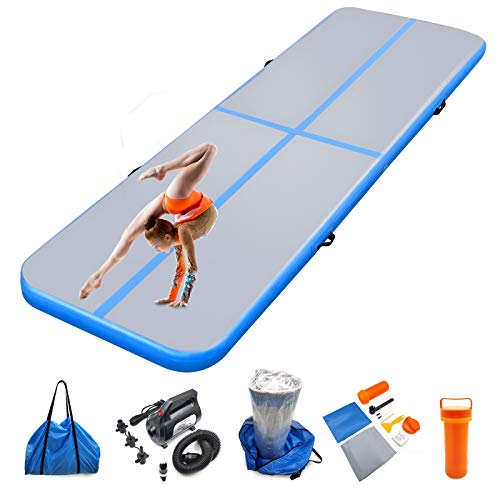 Air mat Tumbling track 10ft 13ft 16ft 20ft Gymnastics Mats Thickness 4 inches for Home Use/Gym/Yoga/Training/Cheerleading/Outdoor/Beach/Park/Water/Kid with Electric Air Pump Carry Bag