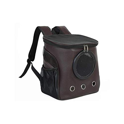 JXLBB Sac de Chat Épaule Chat Portant Un Sac à Dos de Voyage Grand Portable Bag Sac de Chien Teddy Space Pet Cabine Transparente Apparence élégante (Color : Brown)