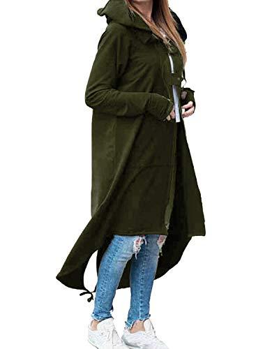 Kidsform Damen Long Hoodie Sweatshirt Zip Hoodies Lose Kapuzenjacke Lang Kapuzenpullover Herbst C-Armeegrün M