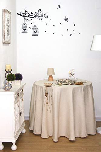 Falda Mesa Camilla Chenilla, Ropa Mesa Camilla Redonda (Crudo, 90 cm)
