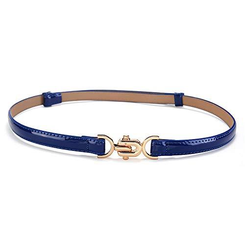 Unisex taille met een dunne riem vrouwelijke modellen mode lakleer glanzende rok met decoratieve riem lederen riem maten beschikbaar 65-85cm blauw