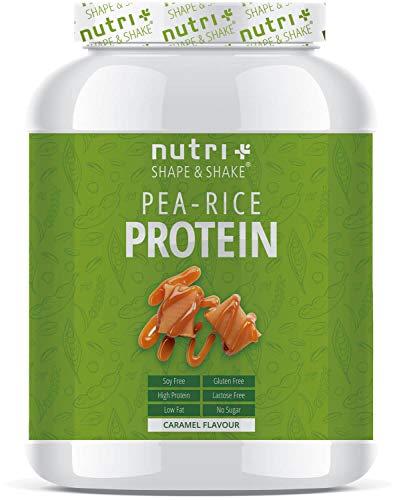 Veganistisch Proteïne Eiwitpoeder Karamel - Nutri-Plus 1kg Vegan Pea Rice Protein Powder - Erwten & rijsteiwitpoeder zonder soja, gluten, lactose