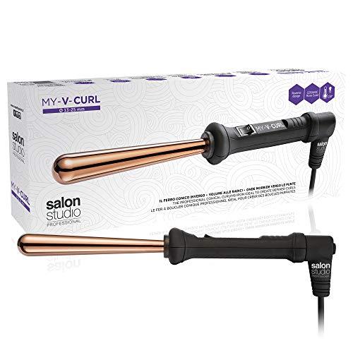 Salon Studio Professional - Rizador Cónico Inverso de 13/25mm - Rizador para Cabello Ondulado - Control de Temperatura hasta 210 °C - Color Rosa y Dorado