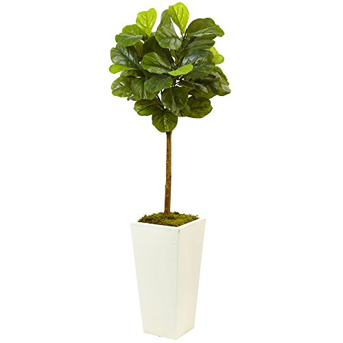Nearly Natural 5966 4.5†Fiddle Leaf Fig in White Planter (Real Touch),Green