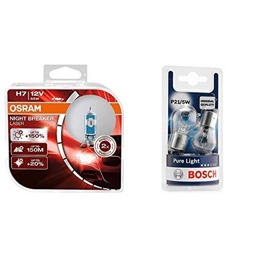 Osram Night Breaker Laser H7 next Generation, +150% mehr Helligkeit, Halogen-Scheinwerferlampe, 12V PKW, Duo Box (2 Lampen) & Bosch Autolampe P21/5W PURE LIGHT - Stopp-/Blinklicht-/Kennzeichenlampe