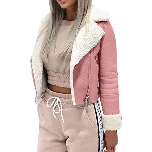 Great Deal! Women's Short Bomber Jacket Coat Fuzzy Fleece Lined Parkars Moto Biker Jacket Long Sleev...