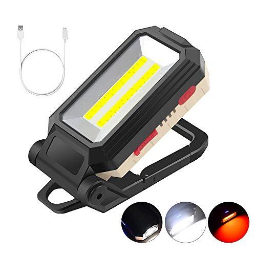 Gobesty Linterna de luz de Trabajo LED, Reflector LED de 10 W, lámpara de inspección portátil Recargable, Linterna magnética con USB para reparación de automóviles, Pesca, Camping, Senderismo