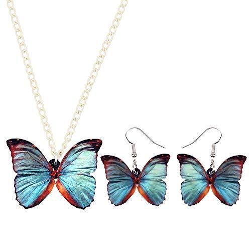 Collar Sistemas de la joyería Pendientes de la Mariposa de la Nueva Manera de acrílico Gris Azul del Collar del Collar del Insecto por Muchachas de Las Mujeres Collares de Mujer Hyococ (Color : A)