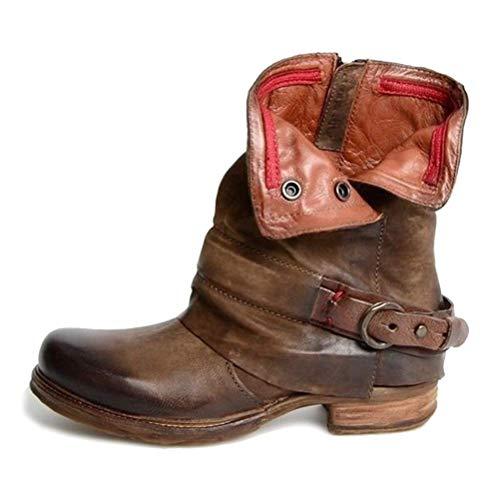 Damen Retro Leder Stiefel Blockabsatz Stiefeletten Frauen Bequeme Schuhe mit Rutschfester Sohle...