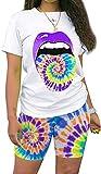 Women's Fashion Printed Short Sleeve T-Shirts Shorts Set Sportswear Two Piece Outfits Purple M