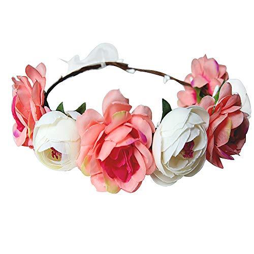 Ssowun Couronne de Fleurs Mariage,Fletion Couronne de Fleurs Femme Filles Bandeaux de Fleurs pour Mariée Fêtes Voyage Ruban Serre-tête Accessoires Cheveux de Mariage (Rose Clair)