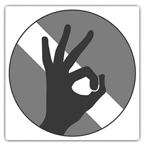 Impresionantes pegatinas cuadradas (juego de 2) 7,5 cm BW – Bandera de buceo de mano OK Divertidas calcomanías para portátiles, tabletas, equipaje, reserva de chatarras, frigoríficos, regalo genial #40582