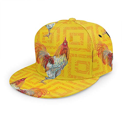 Gorra de béisbol Granja Animal Gallo gallina Snapback Flat Bill Hip Hop Sombreros Trucker Sombrero para hombres mujeres negro