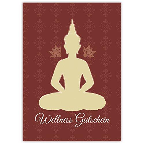 Als 5-delige set: geef een wellness-tegoedbon (blanco) met Boeddha in elegant design • grappige wenskaartenset met enveloppen, hoogwaardig en mooi.