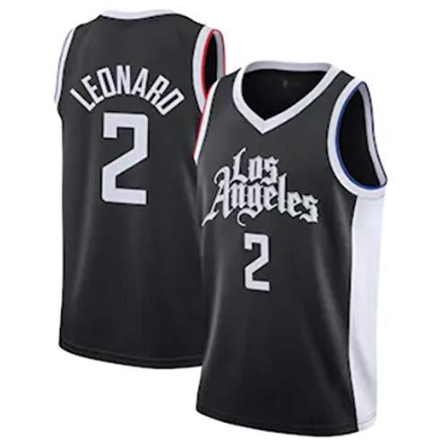 XPQY Camiseta De Los Angeles Clippers para Hombre, Camiseta De Baloncesto Kawhi Leonard City Edition # 2, Malla Bordada De Poliéster, Uniforme De Baloncesto, Chaleco Sin Black-L