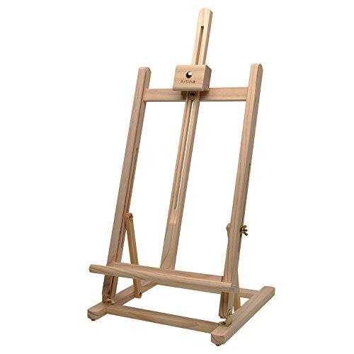 Artina Cavalletto Pittura da Tavolo per dipingere Sydney in Legno massello di Pino - per Uso Artistico Hobby e Studio - cavalletto Professionale per dipingere - Supporto Tele