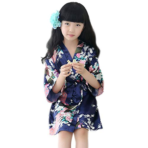 Gyratedream Kids Flower Kimono Roben meisjes nachthemd kinderen badjas pyjama's donkerblauw, grijs, roze Small P