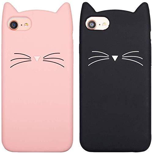 LCHULLE [2 Stück für iPhone 5/5S/SE Silikonhülle Weich Gummi Handyhülle mit süßer Katzen-Muster TPU Schutzhülle Hüllenabdeckung Stoßfest TPU-Bumper Rückschale Hülle Tasche Pink/Schwarz