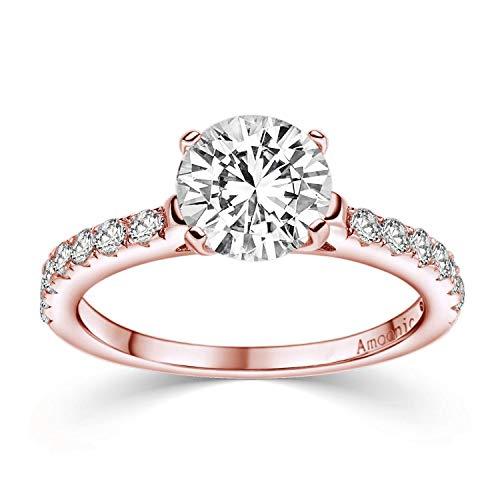 Rotgold Ring Verlobungsringe Rotgold vergoldet Zirkonia Stein + LUXUSETUI! Rotgoldring Ring Zirkonia wie Diamant Geschenk Ringe Heiratsantrag Hochzeit Verlobung Geschenke Frauen AM289 VGRTZIFAZIFA56