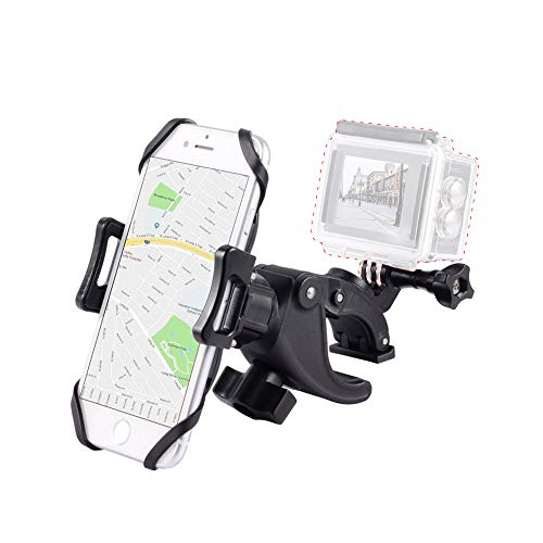 Bike Phone Mount with Gopro Screw Mount, Compatible with iPhone SE, 11,X |XR |XS, 8 | 8 Plus, 7 | 7 Plus, 6s Plus | Galaxy, S10, S9, S8, Holds Phone Up to 3.7' Wide-Support Install Gopro