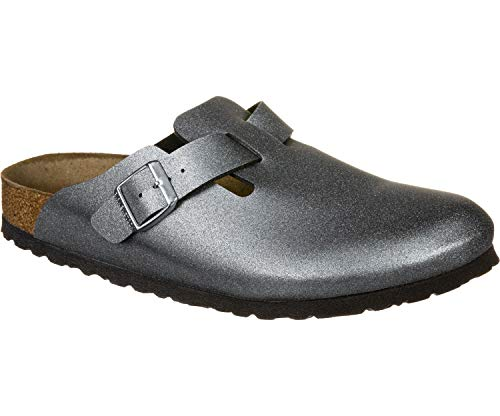 Birkenstock Boston Icy Metallic Anthracite, Birko Flor Grigio 38