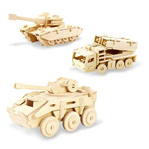 Georgie Porgy 3D Wooden Car Puzzle Military Model Collection ,Tank Puzzle,Explosion-proof Armored vehicle Jigsaw ,Missile Truck Woodcrafts Construction kit,Kids Jigsaw Toy age 5(JP234+JP236+JP242)