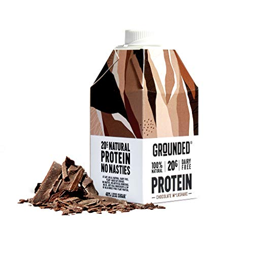GROUNDED Chocolate Plant Protein Shake | Vegan, All Natural, Gluten Free | Smooth, Creamy & Dairy Free Drink | 6 x 490ml