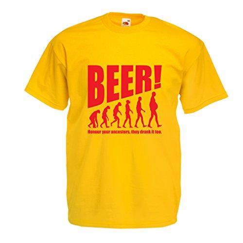 lepni.me Camisetas Hombre The Beervolution - Ideas Divertidas únicas sarcásticas del Regalo para los Amantes de la Cerveza, evolución de consumición (X-Large Amarillo Rojo)