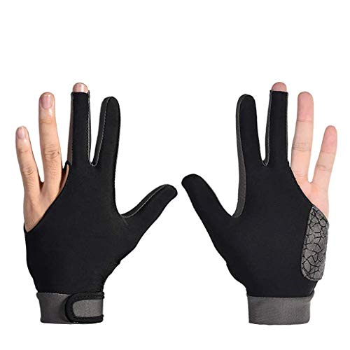 Taoke Spezieller Billiard-Handschuh for Left Hand-Brücke 1 Stück 3-Finger-elastischer Lycra-Stretchable Pool Queue Snooker Glove 8bayfa (Color : Grey, Size : L)