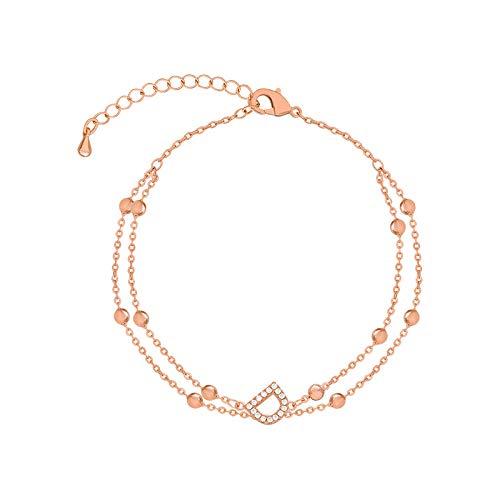 HAHADONG Pulsera de Oro Rosa para Novias Femeninas, diseño de nicho, Pulsera de joyería de Alta Gama de Lujo Ligero-A