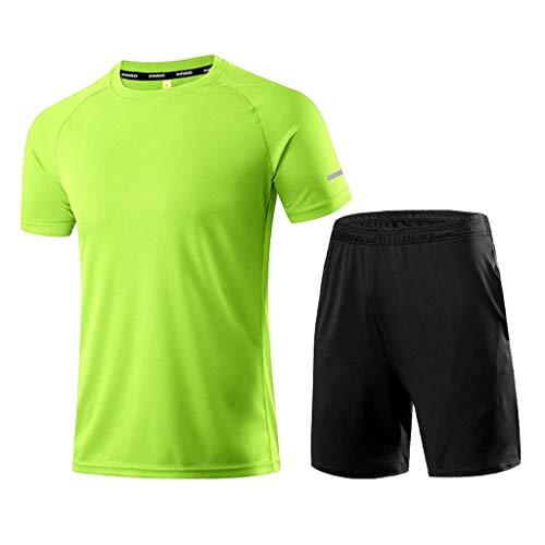 Yowablo Compression Homme Tenue Sport Fitness Vêtement Running Tee Shirt Compression Legging Sport Running Jogging (L,1Vert)
