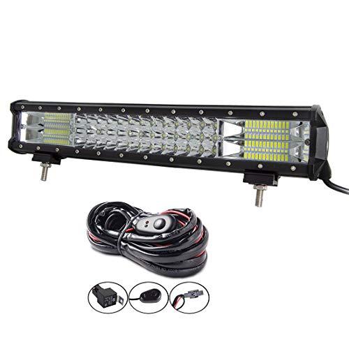AUXTINGS barra de luz LED de 18 pulgadas 252W, triple fila, foco de inundación, luz de trabajo impermeable con arnés de cableado para camiones SUV ATV UTV barcos luces