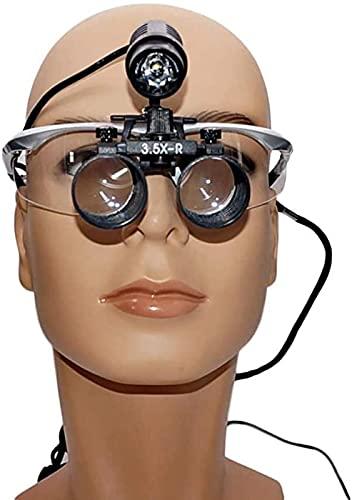 LFERRTYZ Lupa con luz, lupas binoculares médicas 2.5X 3.5X Lupa de Diadema Manos Libres de Ojos Dobles, LED con Faros