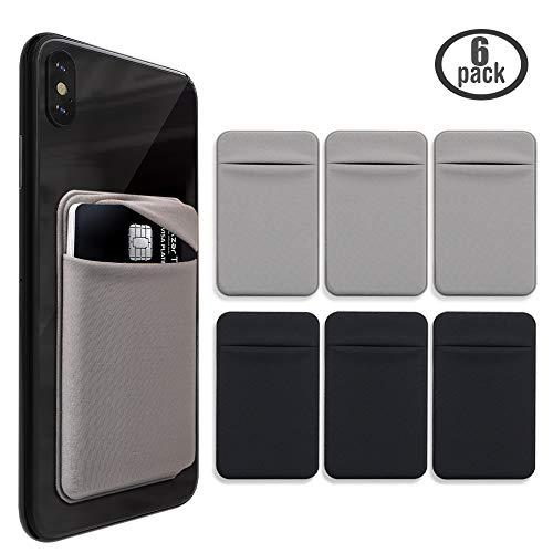 Cozihom - Cartera adhesiva para la parte posterior del teléfono celular, tarjetero, bolsa de lycra con adhesivo de 3M para la parte posterior del teléfono celular, 6 piezas