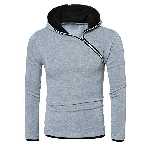 PRJN Mens Hoodie Diagonal Zipper Design Long Sleeve Hoodie Casual Hoodie Outdoor Sweatshirt Men Fashion Diagonal Zipper Design Hooded Raglan Sleeve Long Sleeve Sweatshirt Mens Casual Hoodie Gray
